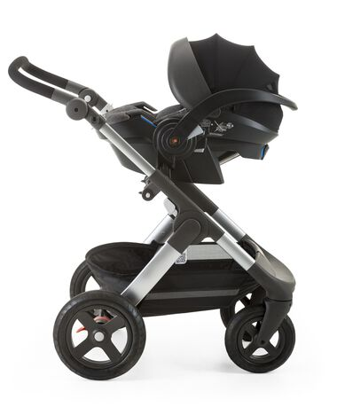 Stokke® iZi Go Modular™ by Besafe®, Black Melange. Mounted on Stokke® Trailz™.