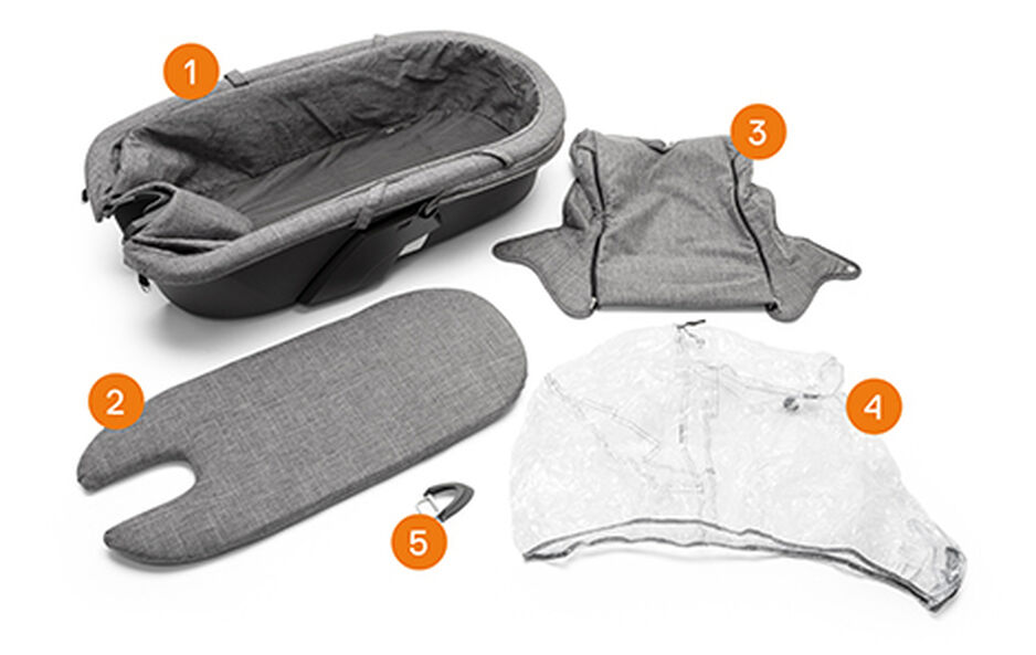 Stokke® Xplory® Carry Cot Complete. Items included.