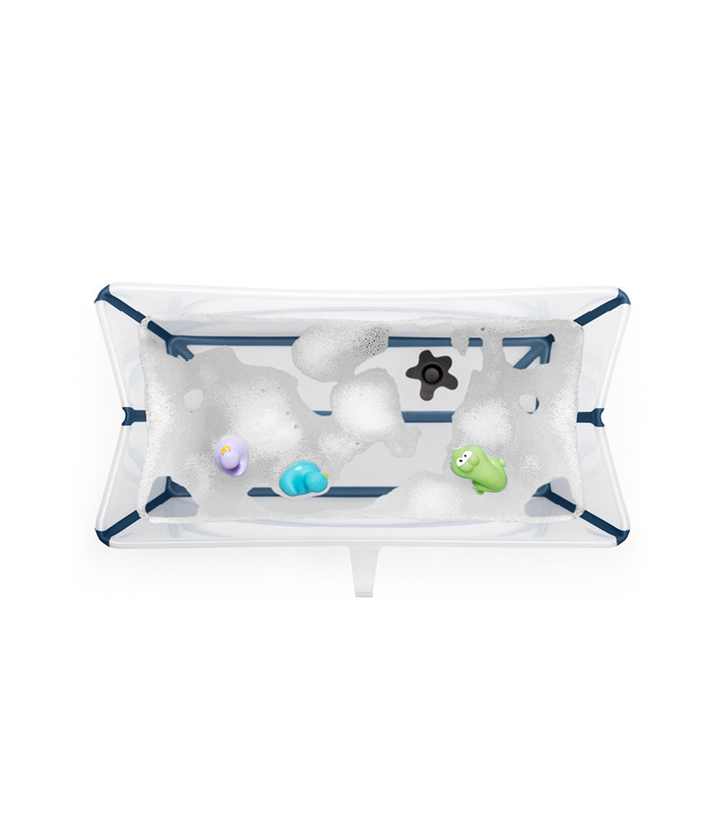 Stokke® Flexi Bath® bath tub, Transparent Blue. Open.