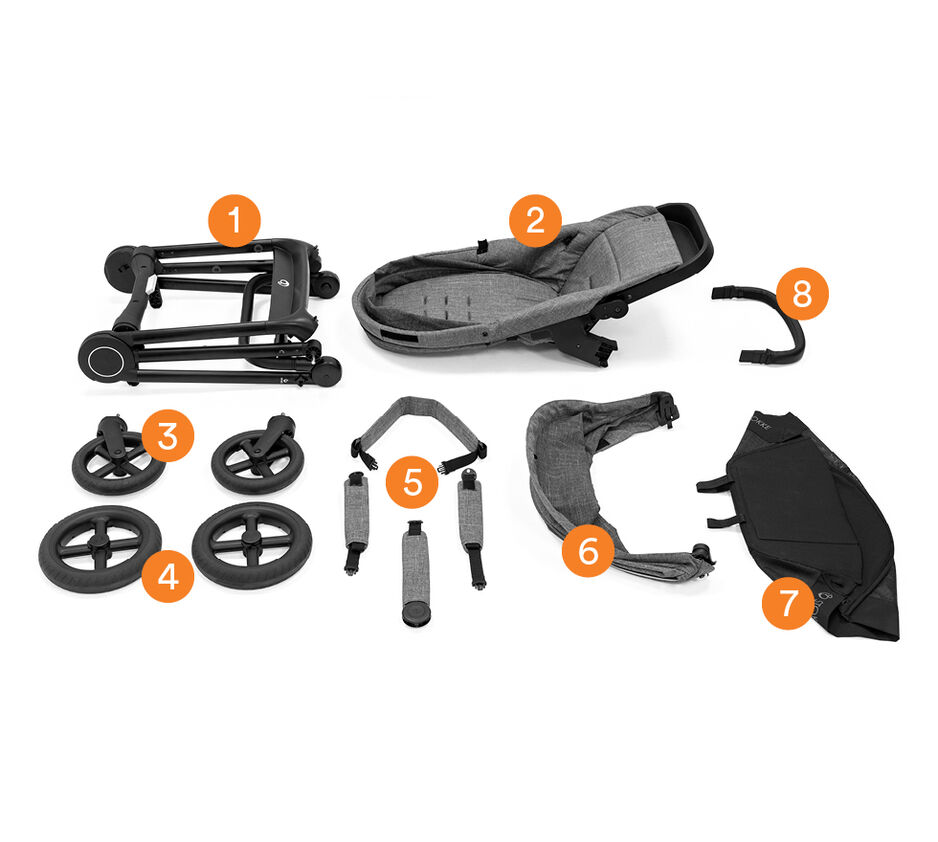 Stokke® Beat™ Stroller Complete in Black Melange. What is included.