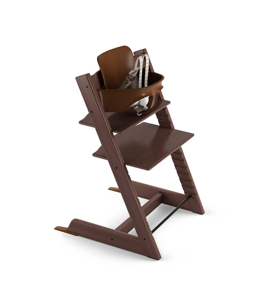 Tripp Trapp® Walnut Brown with Tripp Trapp® Baby Set, Plum Purple. US version. 3D rendering.