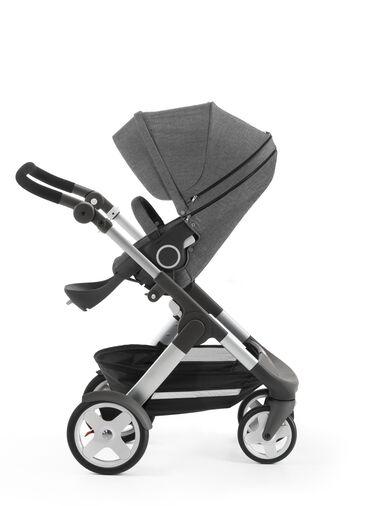 Stokke® Trailz™ with Stokke® Stroller Seat, Black Melange. Classic Wheels.