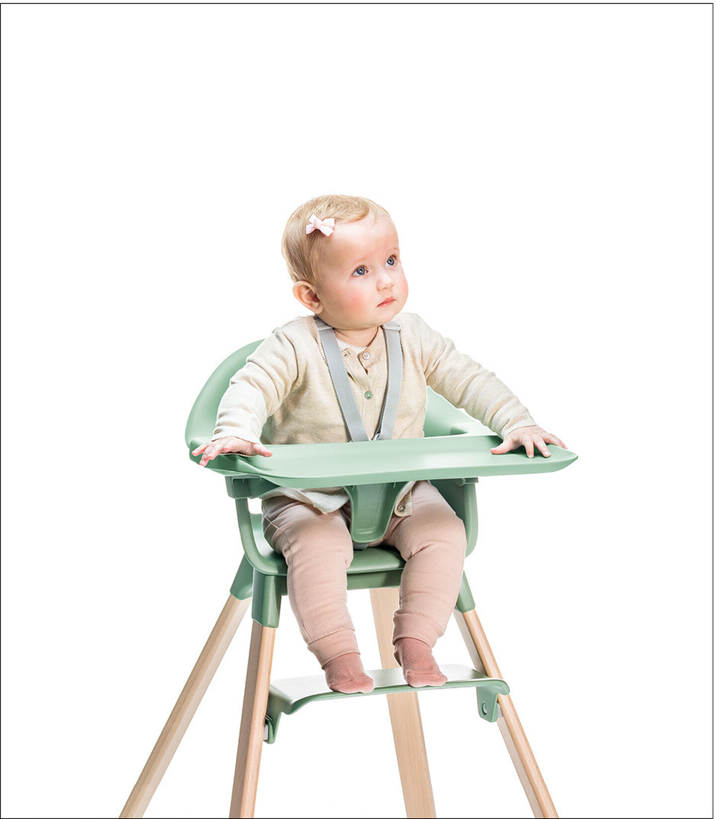 Stokke® Clikk™ High Chair. Natural Beech wood and Clover Green plastic parts. Harness and Tray.