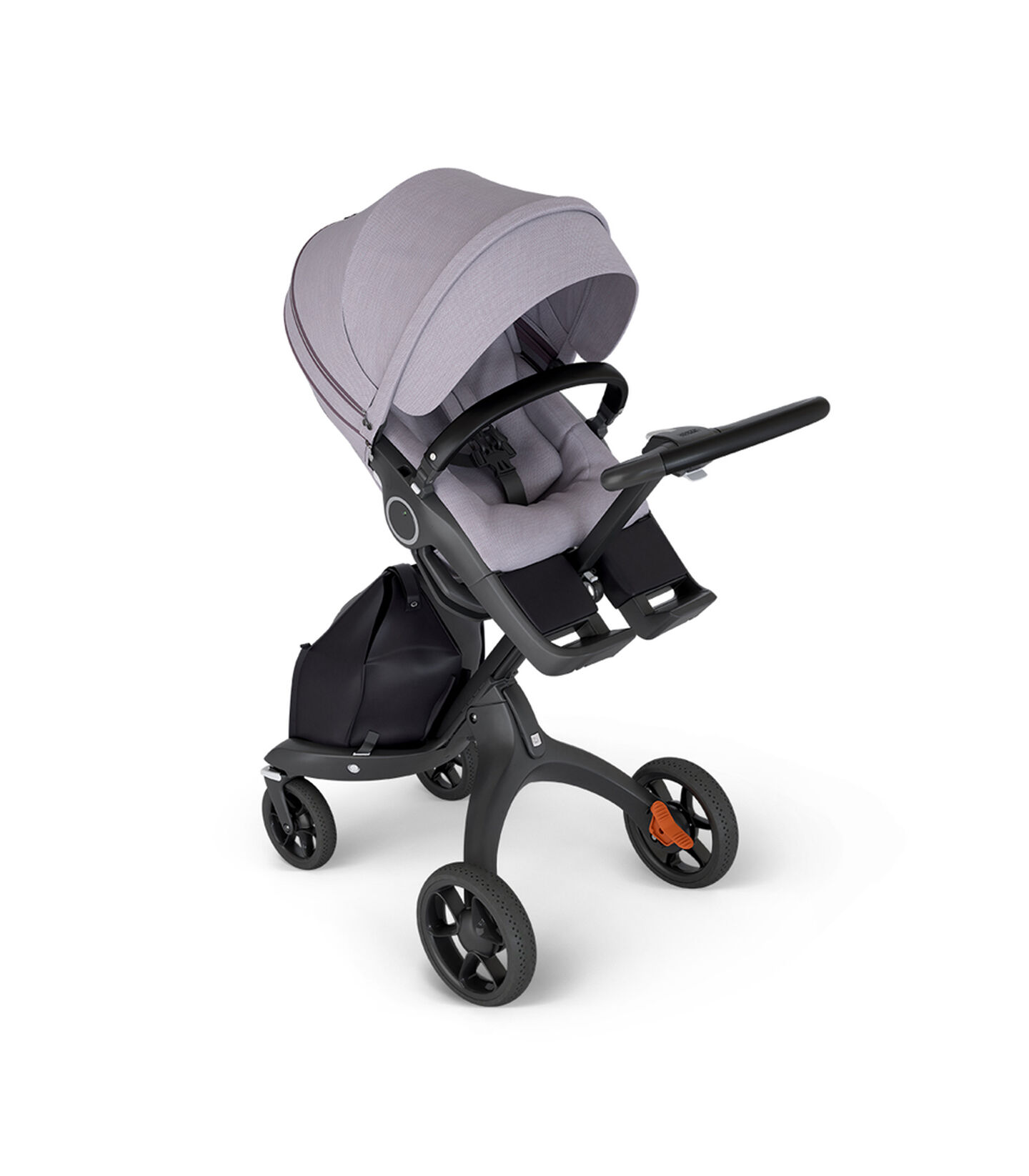Stokke® Xplory® with Black Chassis and Leatherette Black handle. Stokke® Stroller Seat Brushed Lilac in angled view.