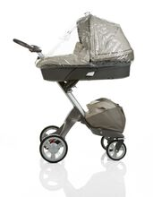 Carry Cot, Beige. Rain Cover.