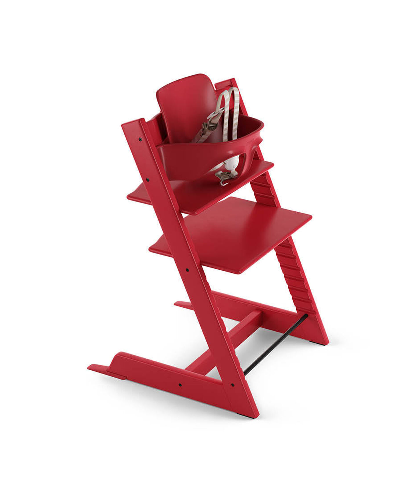 Tripp Trapp® Plum Purple with Tripp Trapp® Baby Set, Red. US version. 3D rendering.