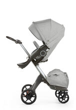 Stokke® Xplory® new wheels. Grey Melange. Menu image.