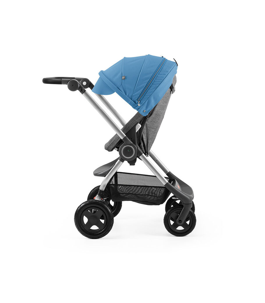 Stokke® Scoot™ Black Melange with Blue Canopy. Parent facing, active position.