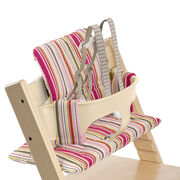 Tripp Trapp® Natural with Baby Set and Candy Stripe cushion. US version. Detail.