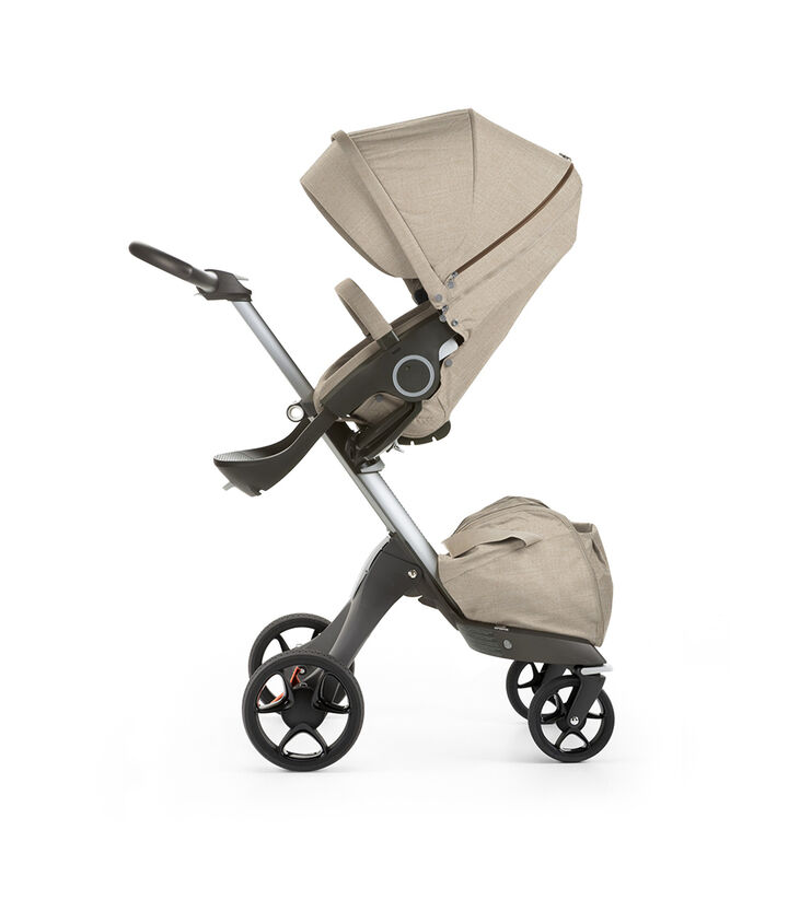 Stokke® Xplory® with Stokke® Stroller Seat, Beige Melange. New wheels 2016.