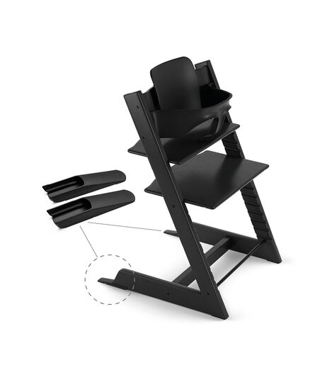 Tripp Trapp® Chair Black, Beech, with Baby Set. view 3