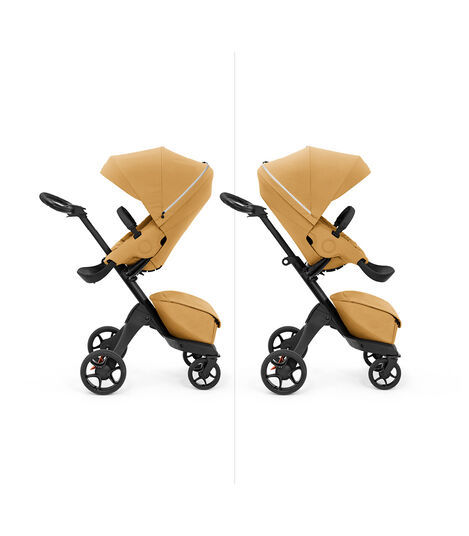Stokke® Xplory X with seat, Golden Yellow. Parent and forward facing. view 5