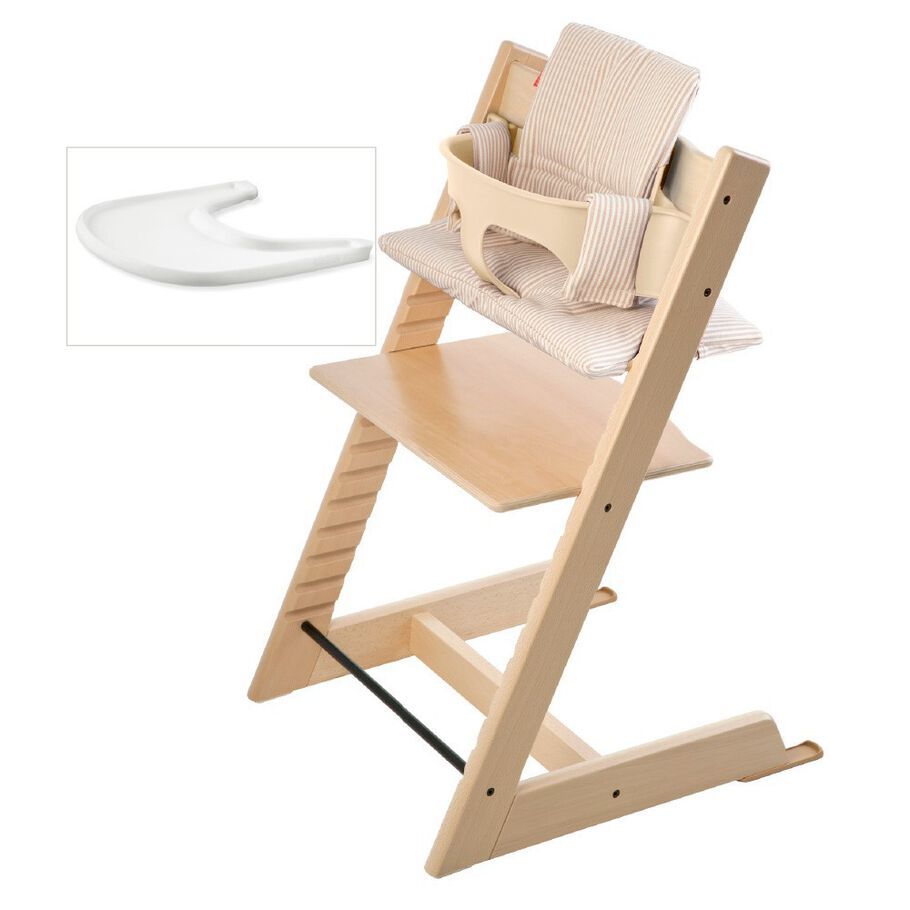 Tripp Trapp® Natural and additional Stokke® Baby Set Tray.