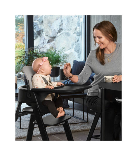 Stokke® Steps™ Beech Black with Baby Set, Baby Set Cushion and Tray Black. view 12