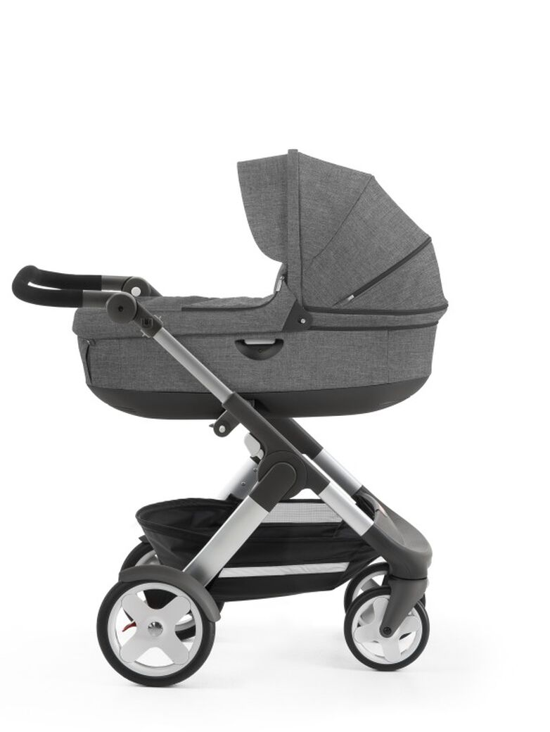 Stokke® Trailz™ with Stokke® Stroller Carry Cot, Black Melange. Classic Wheels. view 11