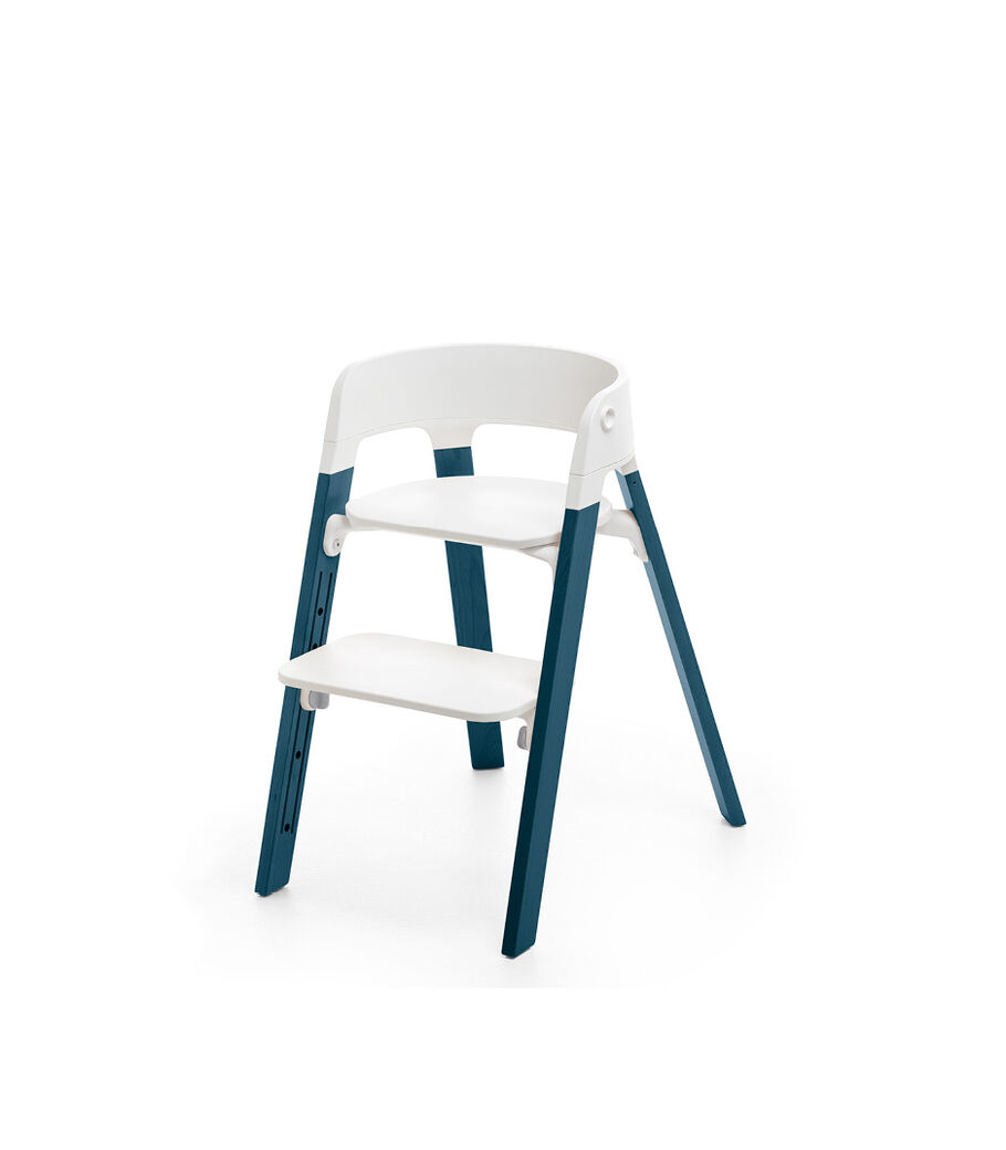 Stokke® Steps™ Chair, Beech Midnight Blue with White Seat. Foortrest high. view 7