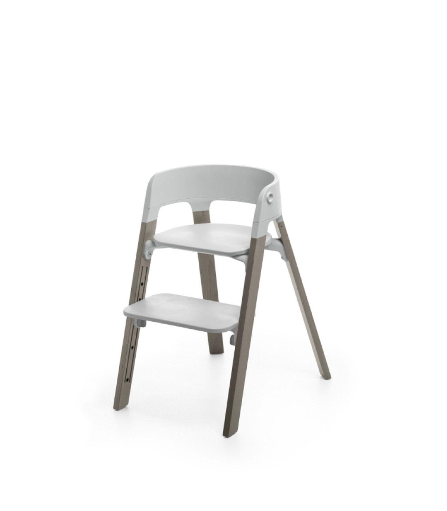 Stokke® Steps™ Hazy Grey with Light Grey seat.