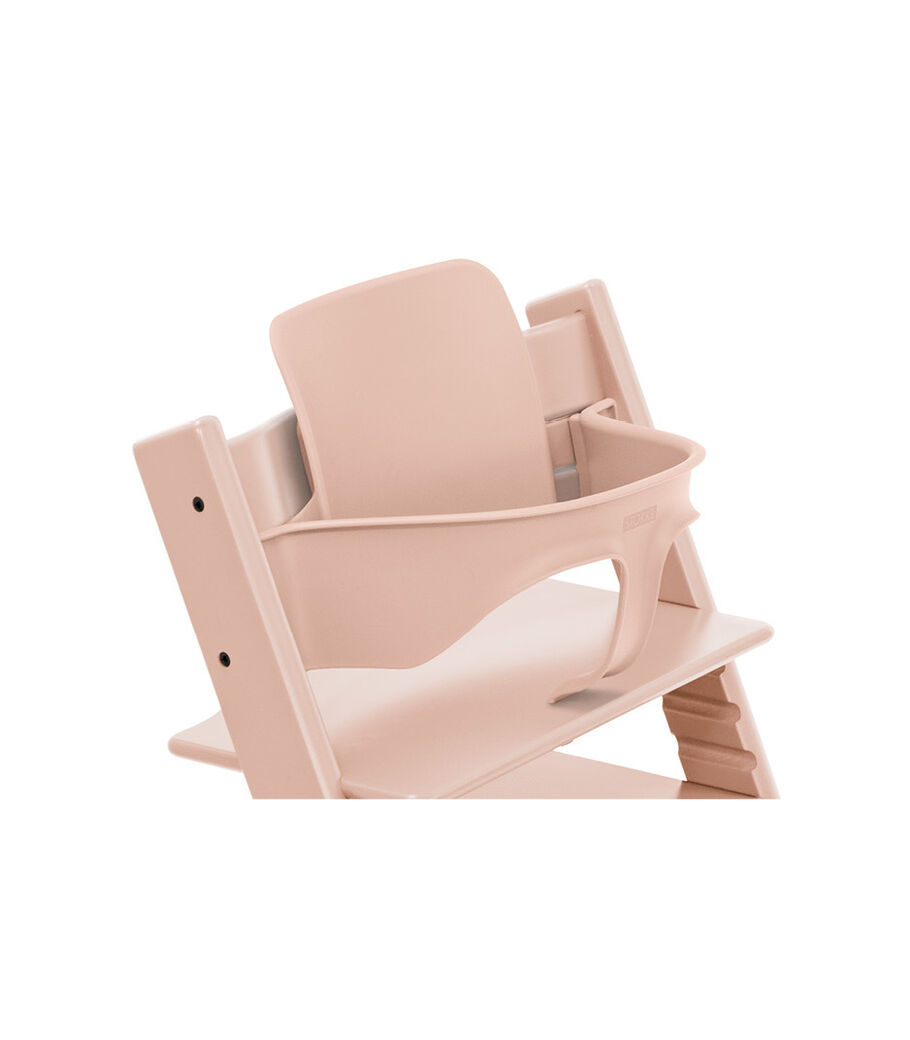 Tripp Trapp® Chair Serene Pink, Beech, with Baby Set. 3D rendering.