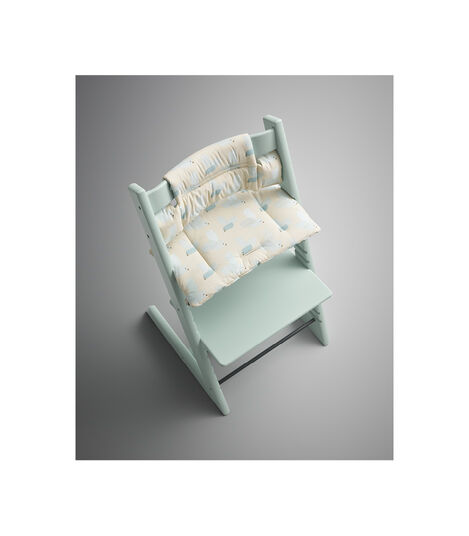 Tripp Trapp® Soft Mint with Classic Cushion Birds Blue. Styled. view 2