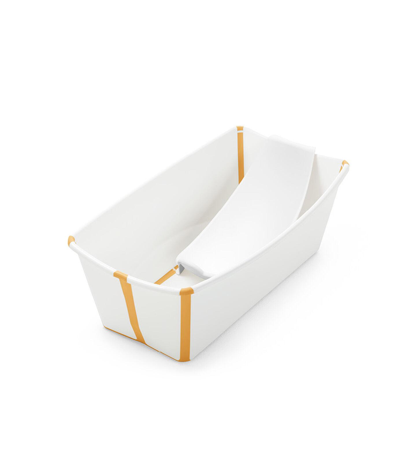 Stokke® Flexi Bath® bath tub, White and Yellow with Newborn insert.