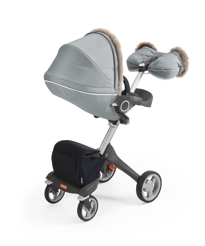 Stokke® Stroller Seat with Winter Kit, Cloud Grey and Stokke® Xplory® Chassis, Black.