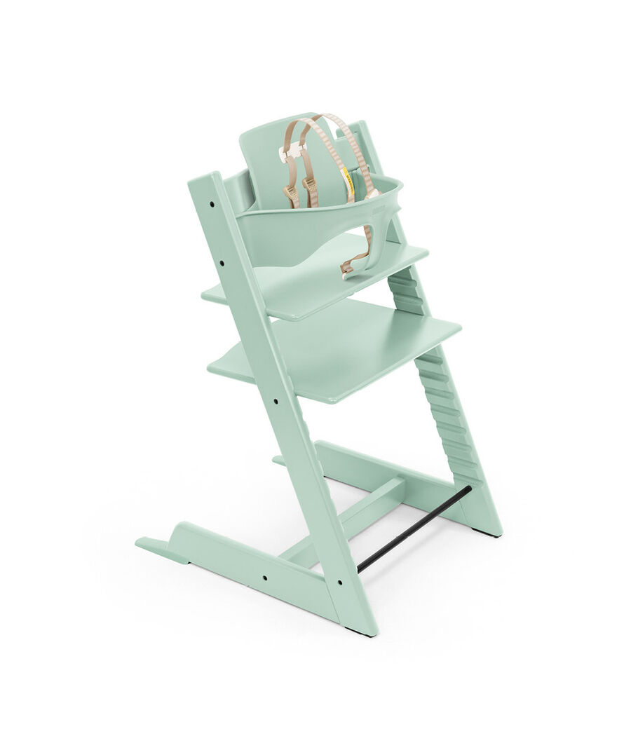 Tripp Trapp® chair Soft Mint, Beech Wood, with Baby Set and Harness, US.