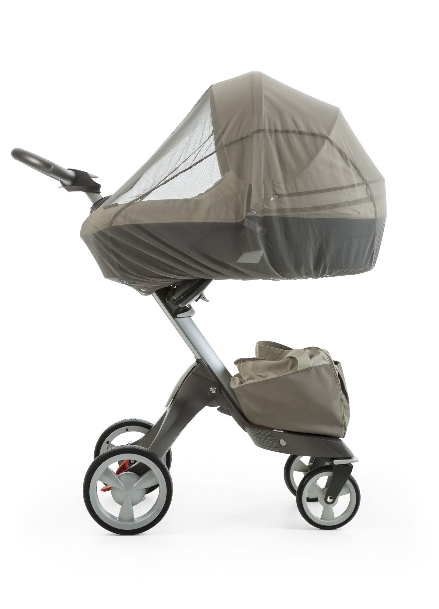 Carry Cot, Beige. Mosquito Net.