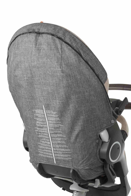 Stokke® Stroller Seat spare part. 179311 Stokke® Stroller Seat Rear Textile Cover Black Melange.