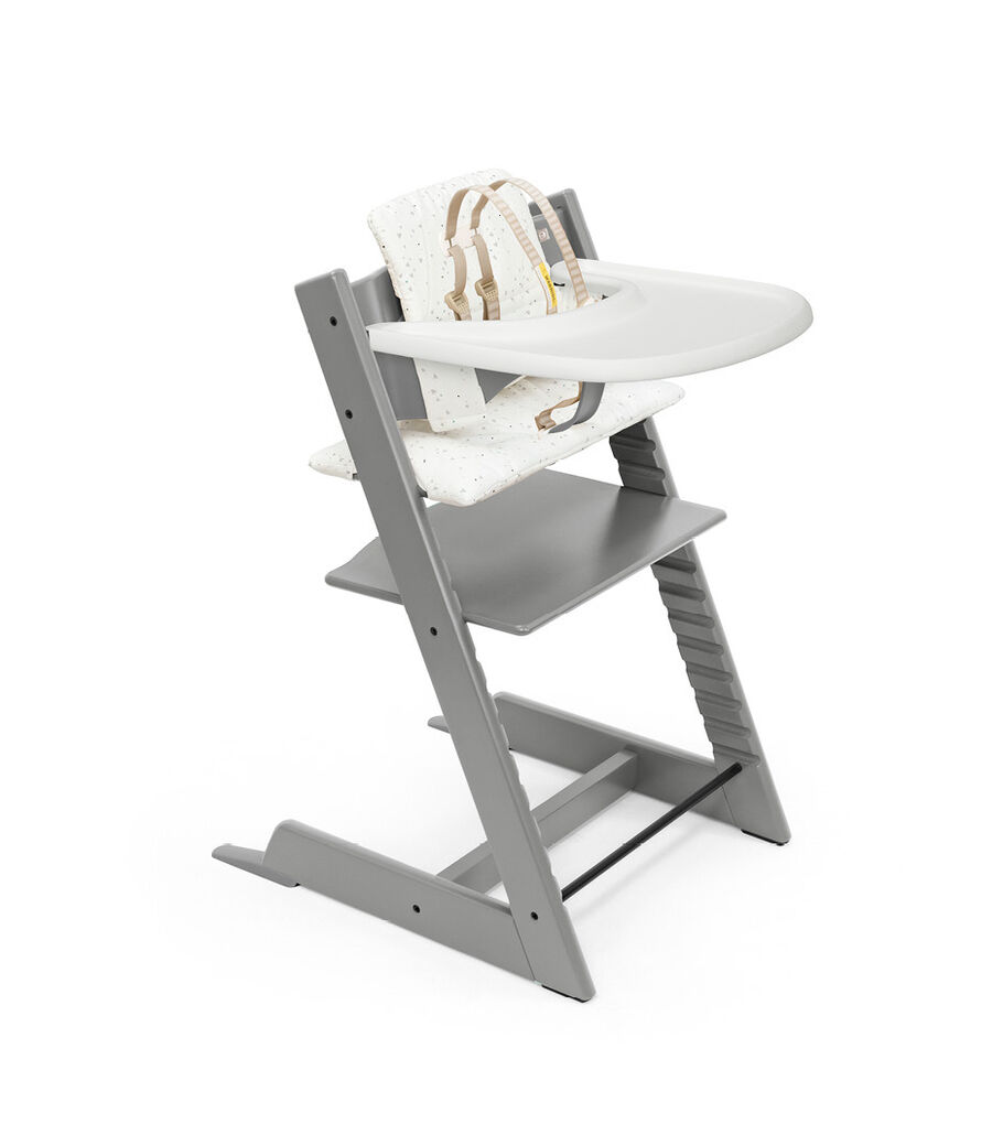 Tripp Trapp® High Chair Storm Grey with Baby Set, Classic Cushion Sweet Hearts and Stokke® Tray. Bundle. US only.
