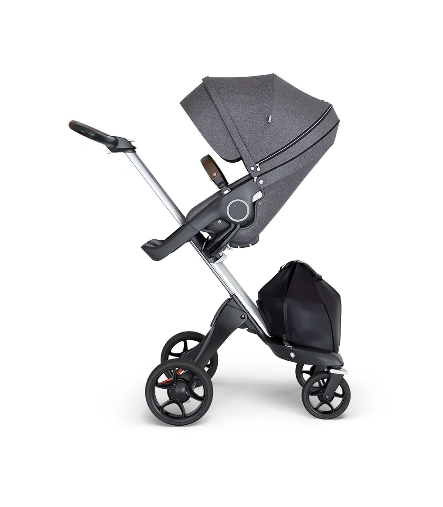 Stokke® Xplory® wtih Silver Chassis and Leatherette Brown handle. Stokke® Stroller Seat Black Melange.