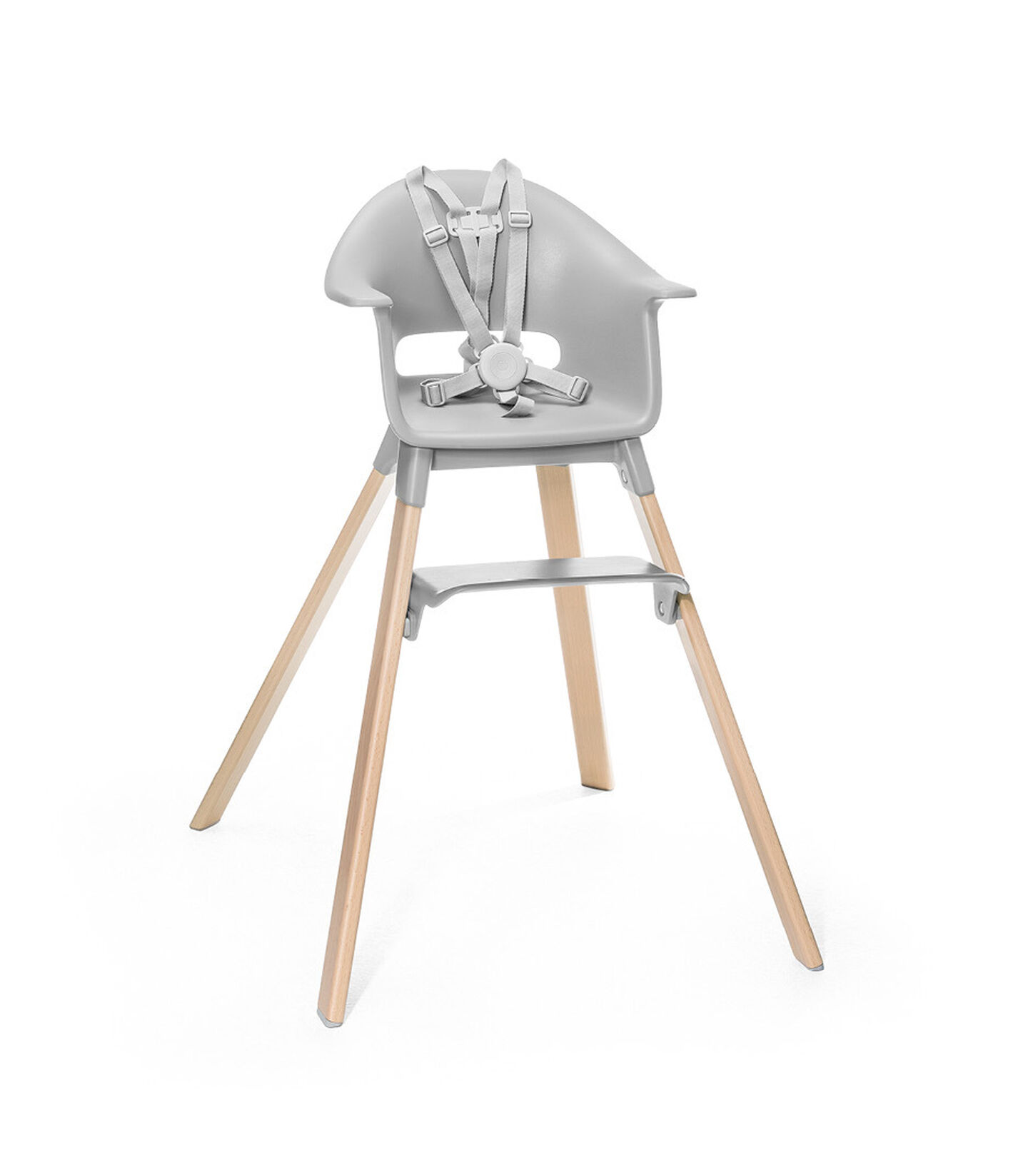 Stokke® Clikk™ High Chair. Natural Beech wood and Light Grey plastic parts. Stokke® Harness attached. Footrest low.