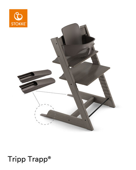 Tripp Trapp® Chair Hazy Grey, Beech, with Baby Set. view 5