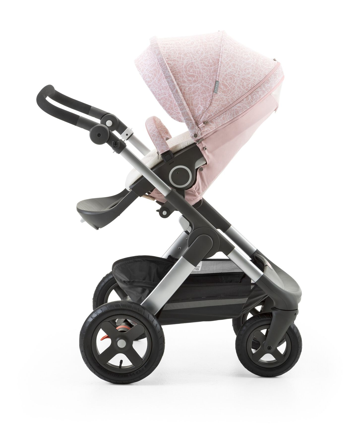 Stokke® Trailz™ with Stokke® Stroller Summer Kit Scribble Faded Pink.