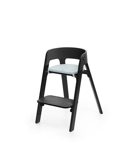 Stokke® Steps™ Oak Black, with Chair Cushion Jade Twill.