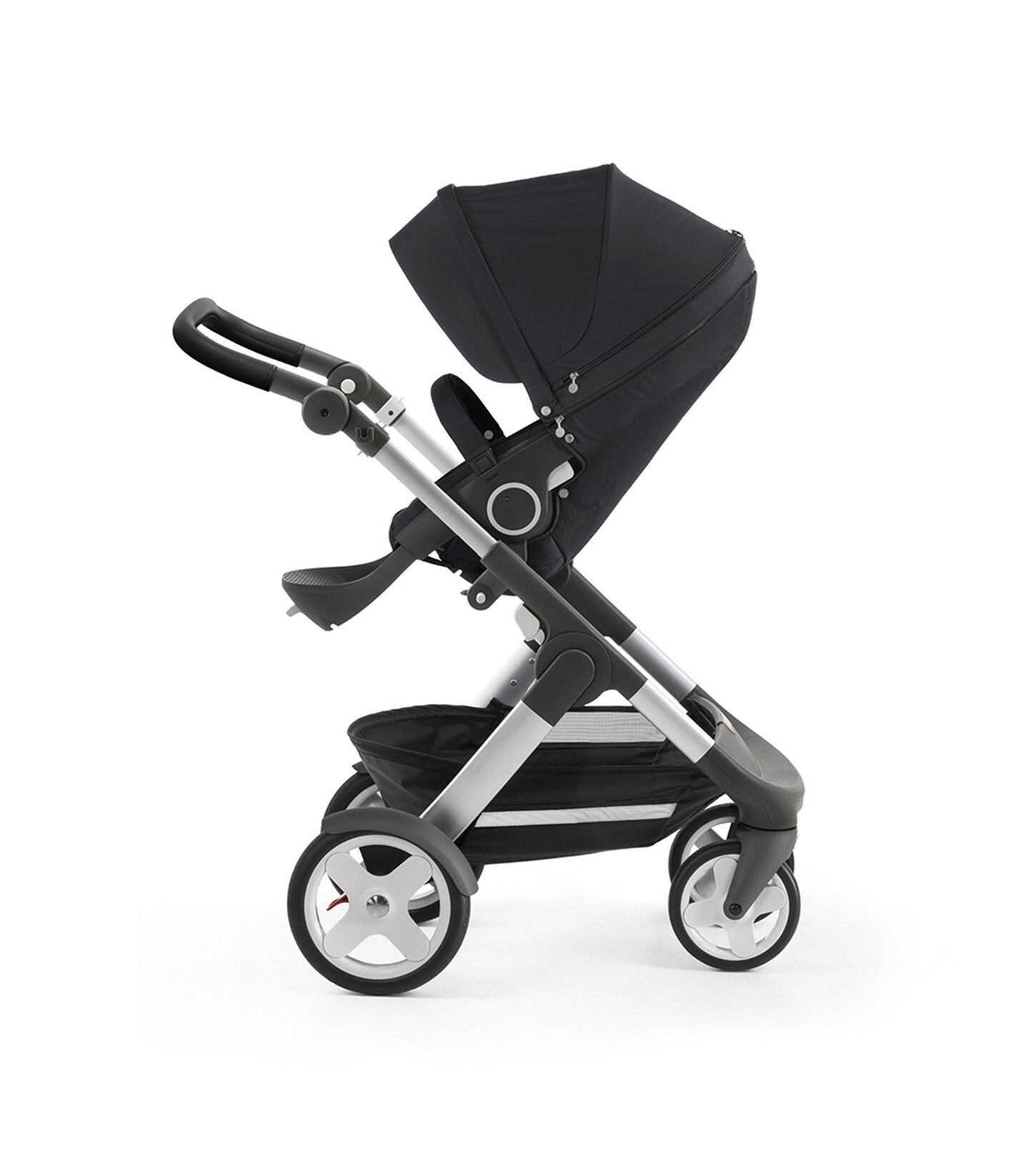 Stokke® Trailz™ with silver chassis and Stokke® Stroller Seat, Black Melange. Classic Wheels. view 2