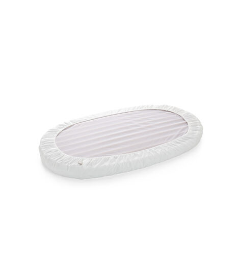 Stokke® Sleepi™ Bed Fitted Sheet. White. Bottom side.