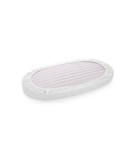 Stokke® Sleepi™ Bed Fitted Sheet. White. Bottom side.