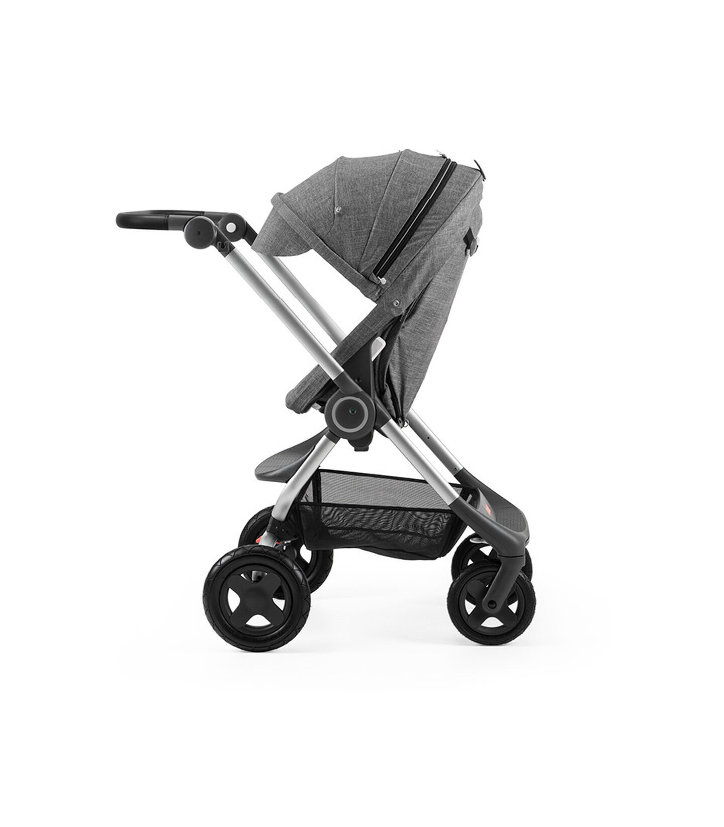 Stokke® Scoot™ Black Melange with Black Melange Canopy. Parent facing, active position.
