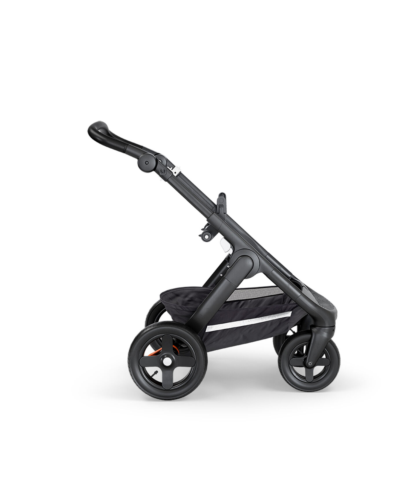 Stokke® Trailz™ with Black Chassis, Black Leatherette and Terrain Wheels.
