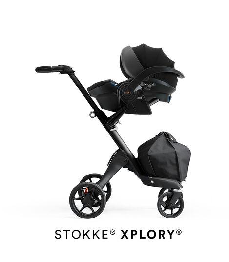 Stokke® iZi Go Modular™ X1 by Besafe®, Black. Mounted on Stokke® Xplory®.