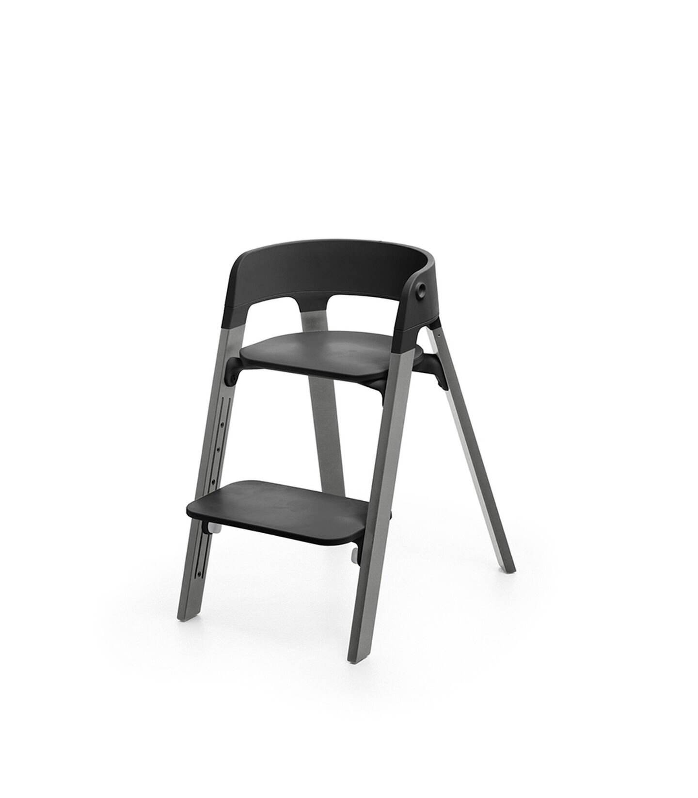 Stokke® Steps™ Storm Grey  with Black seat and footrest in low position.