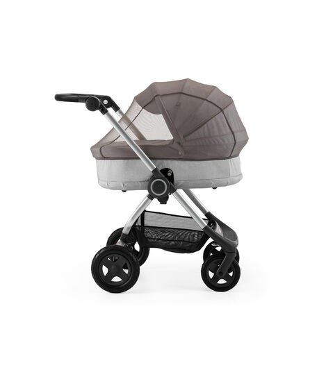 Stokke® Scoot™ With Carry Cot Grey Melange. Leatherette handle. Mosquito Net.