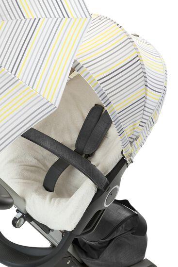 Stokke® Xplory® with Stokke® Stroller Summer Kit Grey Lemon Stripe.