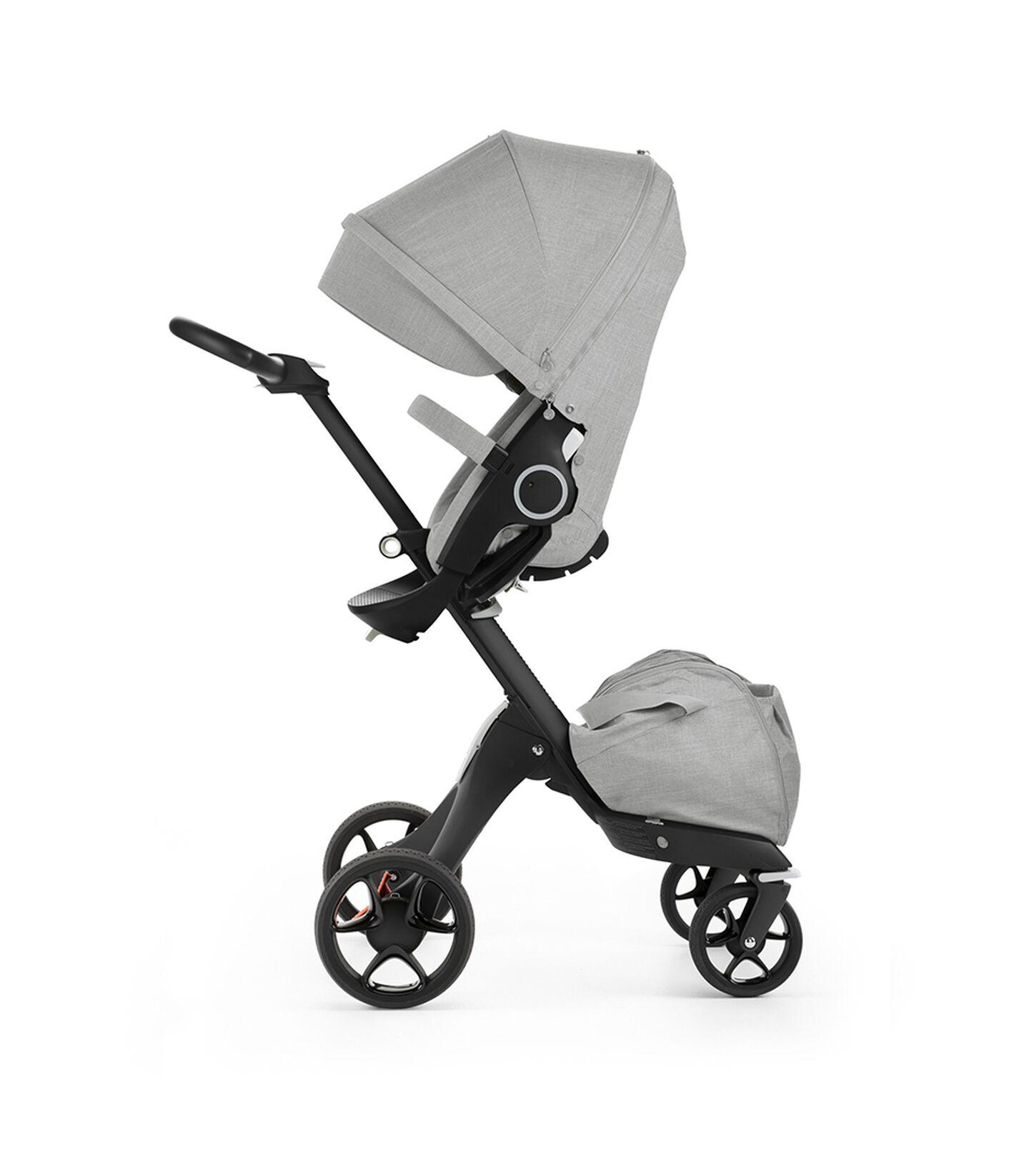 Stokke® Xplory® with Stokke® Stroller Seat, Black Melange. New wheels 2016.