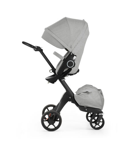 Stokke® Xplory® with Stokke® Stroller Seat, Black Melange. New wheels 2016.
