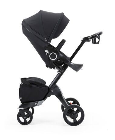 Stokke® Xplory® with Stokke® Stroller Seat, True Black.