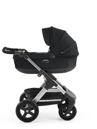 Stokke® Trailz™ with Stokke® Stroller Carry Cot Black.