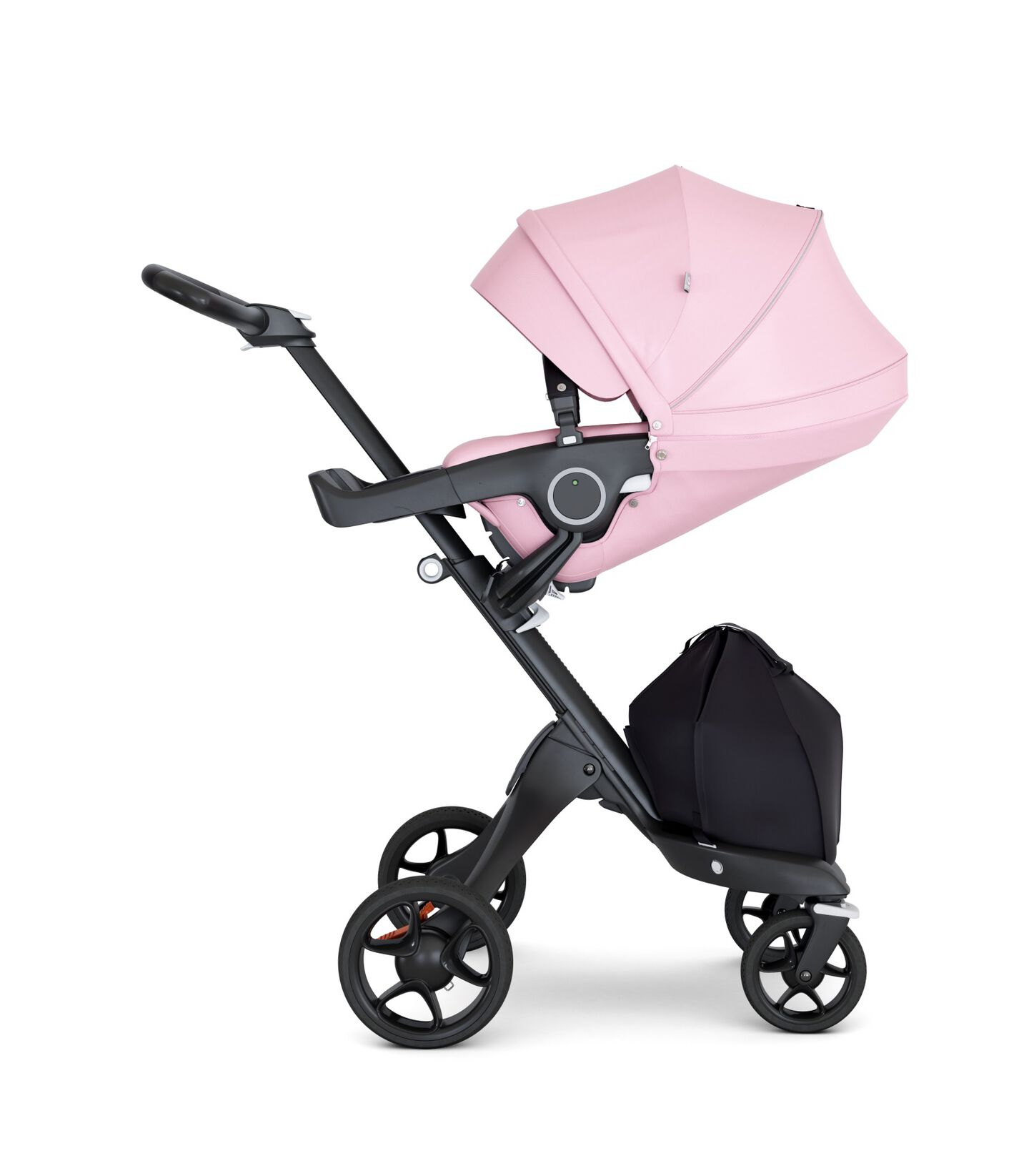 Stokke® Xplory® with Black Chassis and Leatherette Black handle. Stokke® Stroller Seat Lotus Pink with extended canopy.
