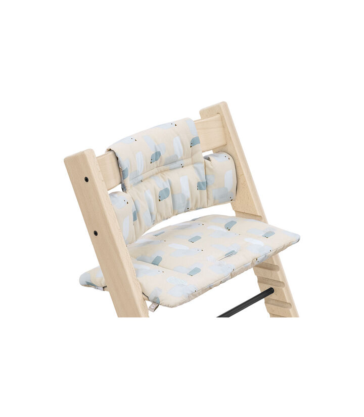 Tripp Trapp® Chair Natural with Classic Cushion Birds Blue. Detail. view 1