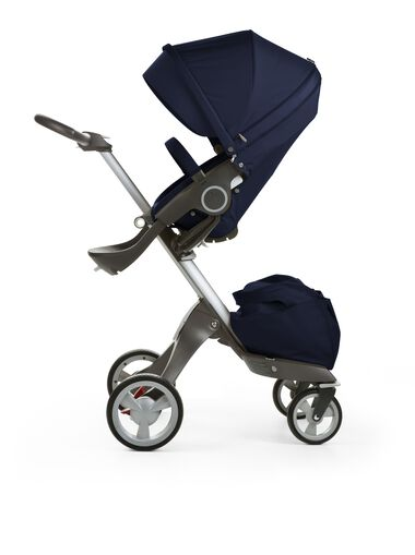 Stokke® Xplory® with Stokke® Stroller Seat, Deep Blue.